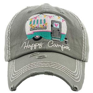 Happy Camper Moss Distressed Baseball Hat